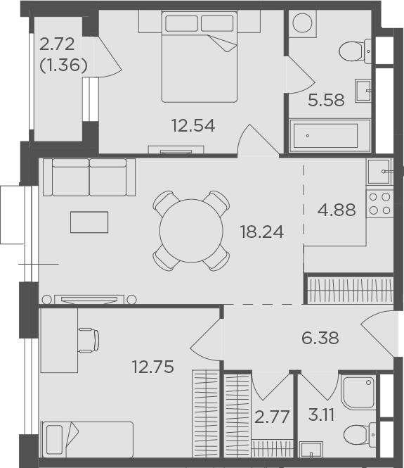 3Е-к.кв, 67.61 м²