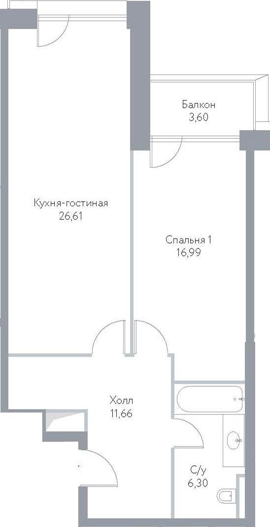 2Е-к.кв, 65.16 м², 6 этаж