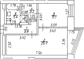 2Е-комнатная, 51 м²– 2