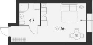 Студия, 27.36 м²