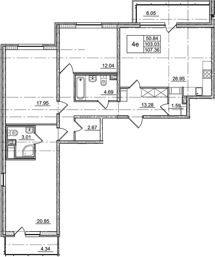4Е-комнатная, 103.03 м²– 2