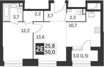 2Е-комнатная, 49.9 м²– 2