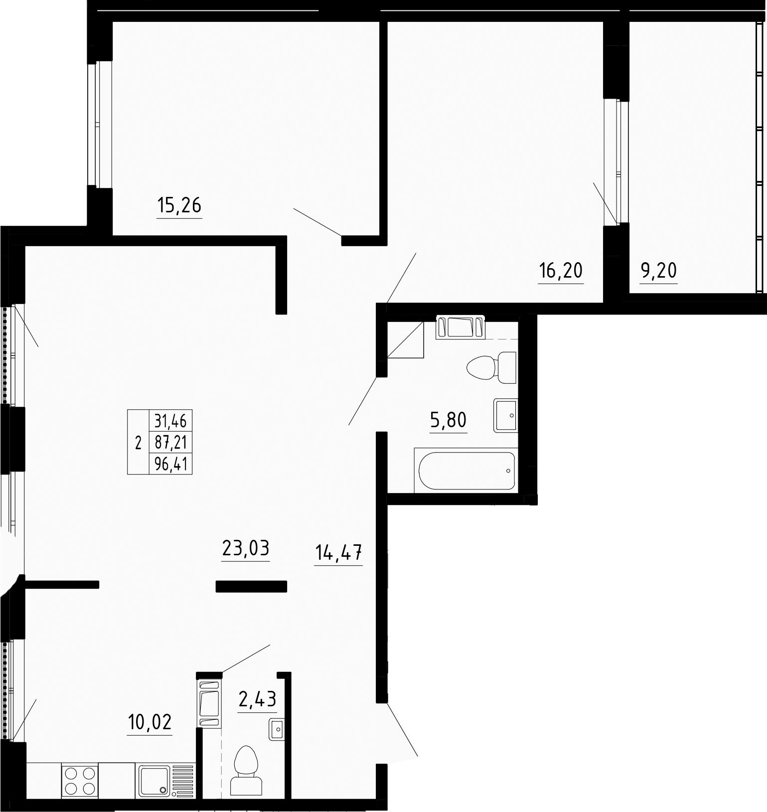 3-к.кв (евро), 96.41 м²