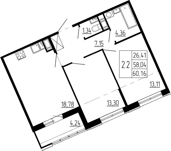 3Е-к.кв, 58.04 м²