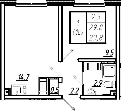 1-комнатная, 29.8 м²– 2