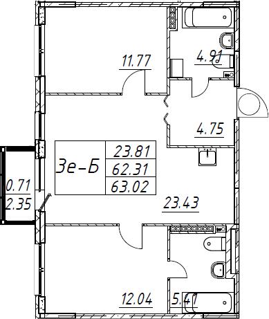 3Е-комнатная, 63.02 м²– 2