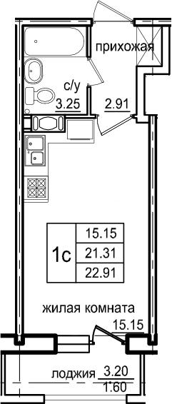 Студия, 22.91 м², 6 этаж