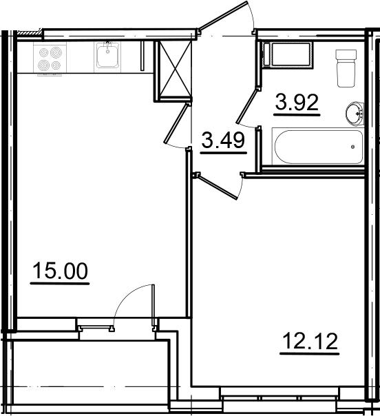 2Е-к.кв, 35.33 м², 13 этаж