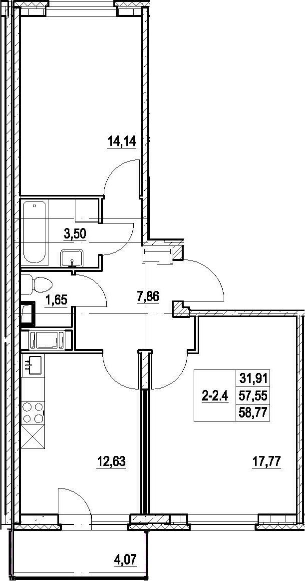 2-к.кв, 61.62 м²