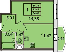 1-к.кв, 38.23 м²