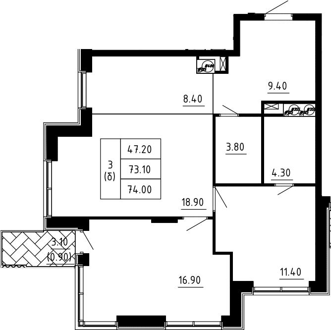 3Е-к.кв, 74 м², 9 этаж