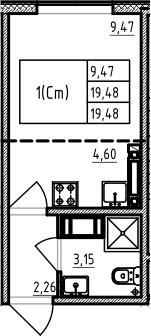 Студия, 19.48 м²– 2