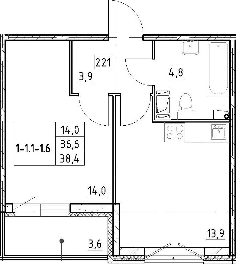 1-к.кв, 38.4 м², 3 этаж