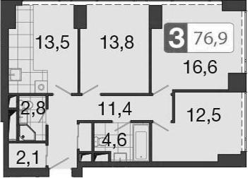 3-к.кв, 78.1 м²