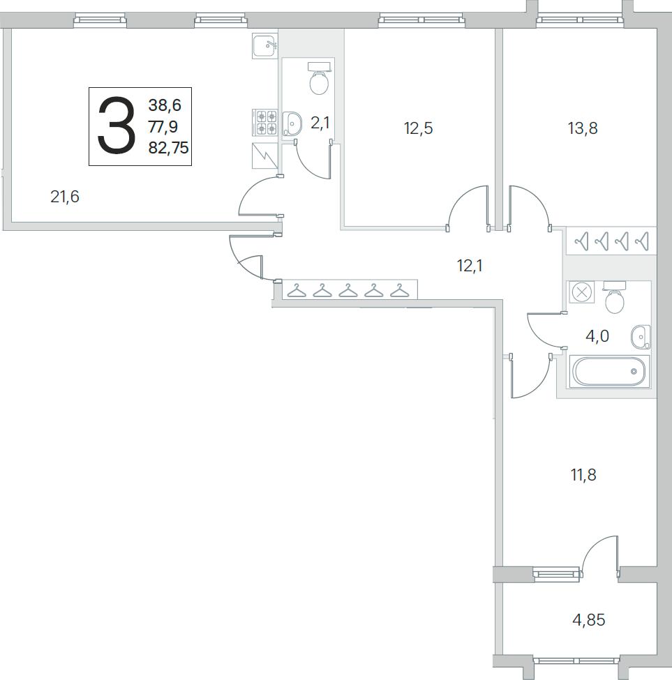 4Е-к.кв, 77.9 м², 3 этаж