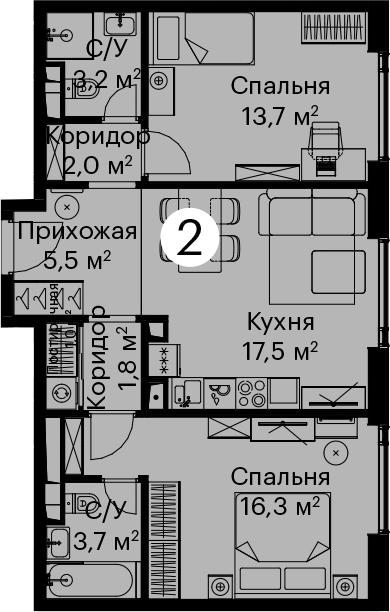 3Е-комнатная, 65.3 м²– 2