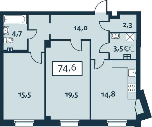 2-к.кв, 74.64 м²
