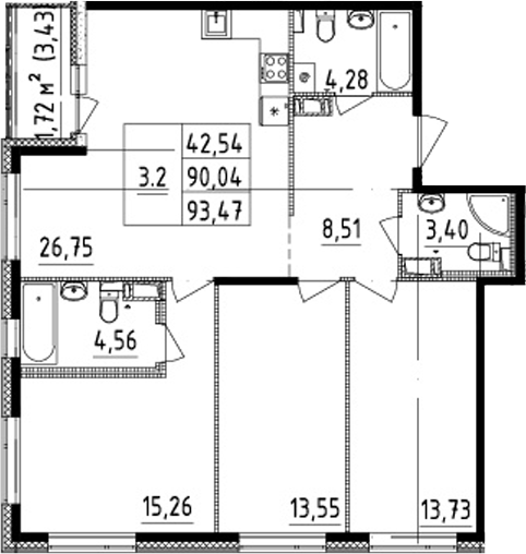 4Е-к.кв, 90.04 м², от 3 этажа