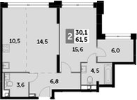 3Е-к.кв, 61.5 м², 35 этаж