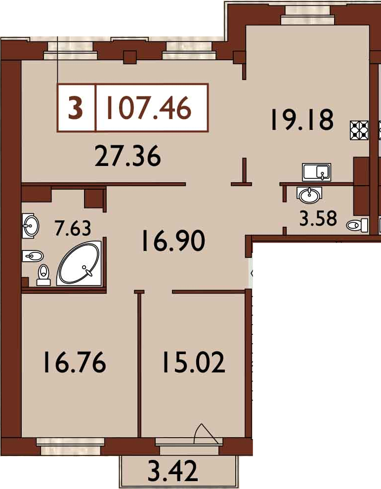 3-к.кв, 109.86 м²