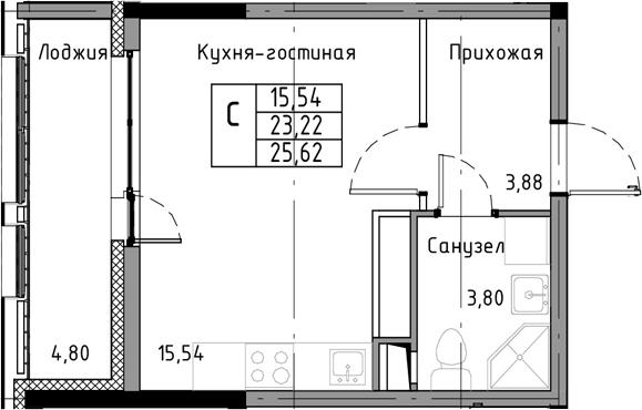 Студия, 25.62 м²– 2