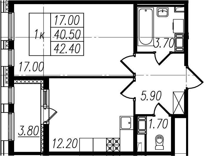 1-комнатная, 40.5 м²– 2