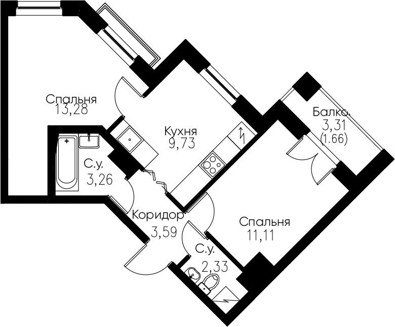 2-комнатная, 44.96 м²– 2
