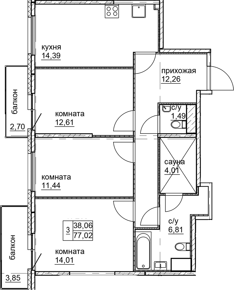 3-к.кв, 77.02 м²