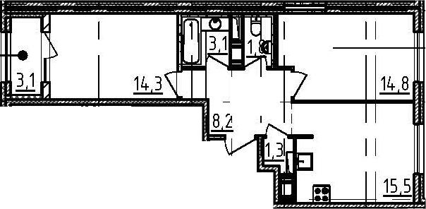 3Е-к.кв, 60.6 м²