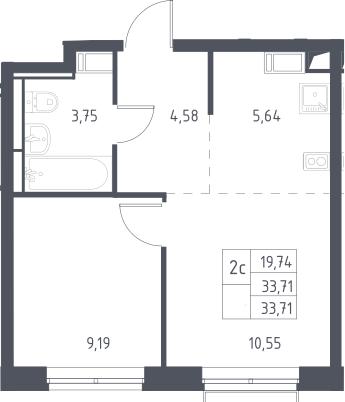 2Е-к.кв, 33.71 м², 10 этаж