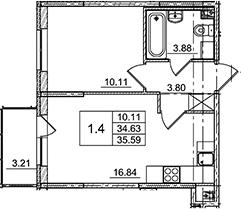 2Е-комнатная, 35.59 м²– 2
