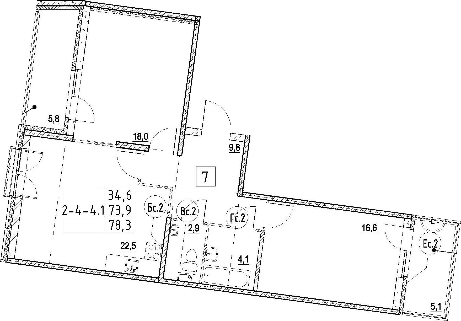 3Е-комнатная, 78.3 м²– 2
