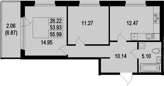 2-к.кв, 55.99 м²