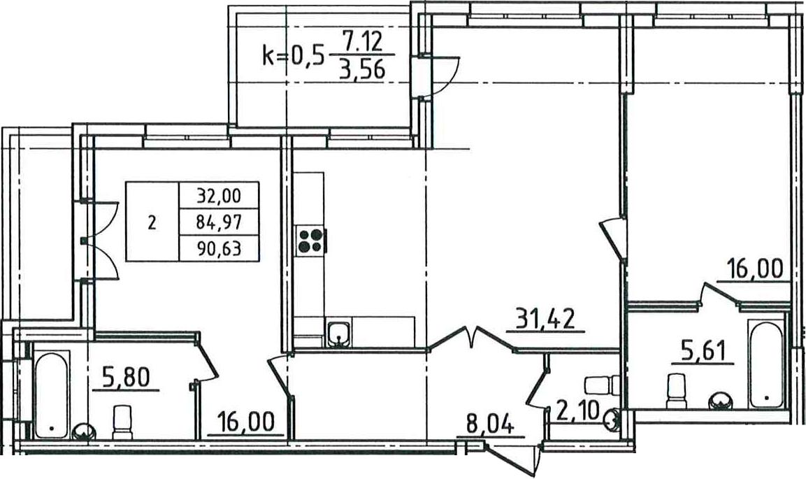 3-к.кв (евро), 96.29 м²