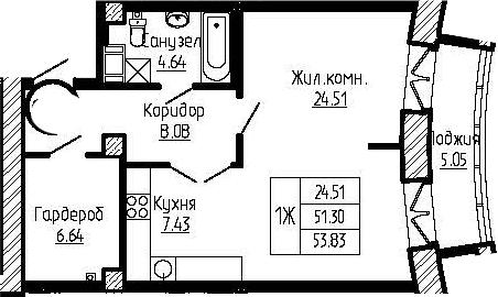 1-к.кв, 56.35 м²