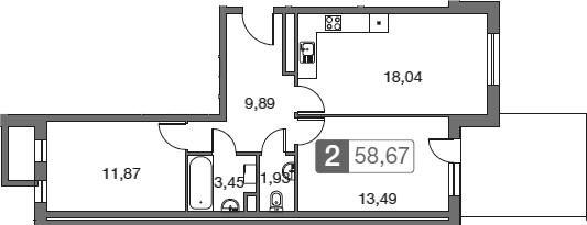 3Е-к.кв, 58.67 м²