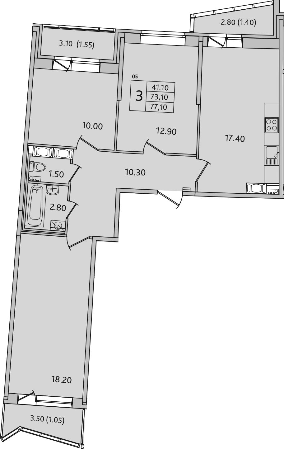 4Е-к.кв, 77.1 м², 8 этаж