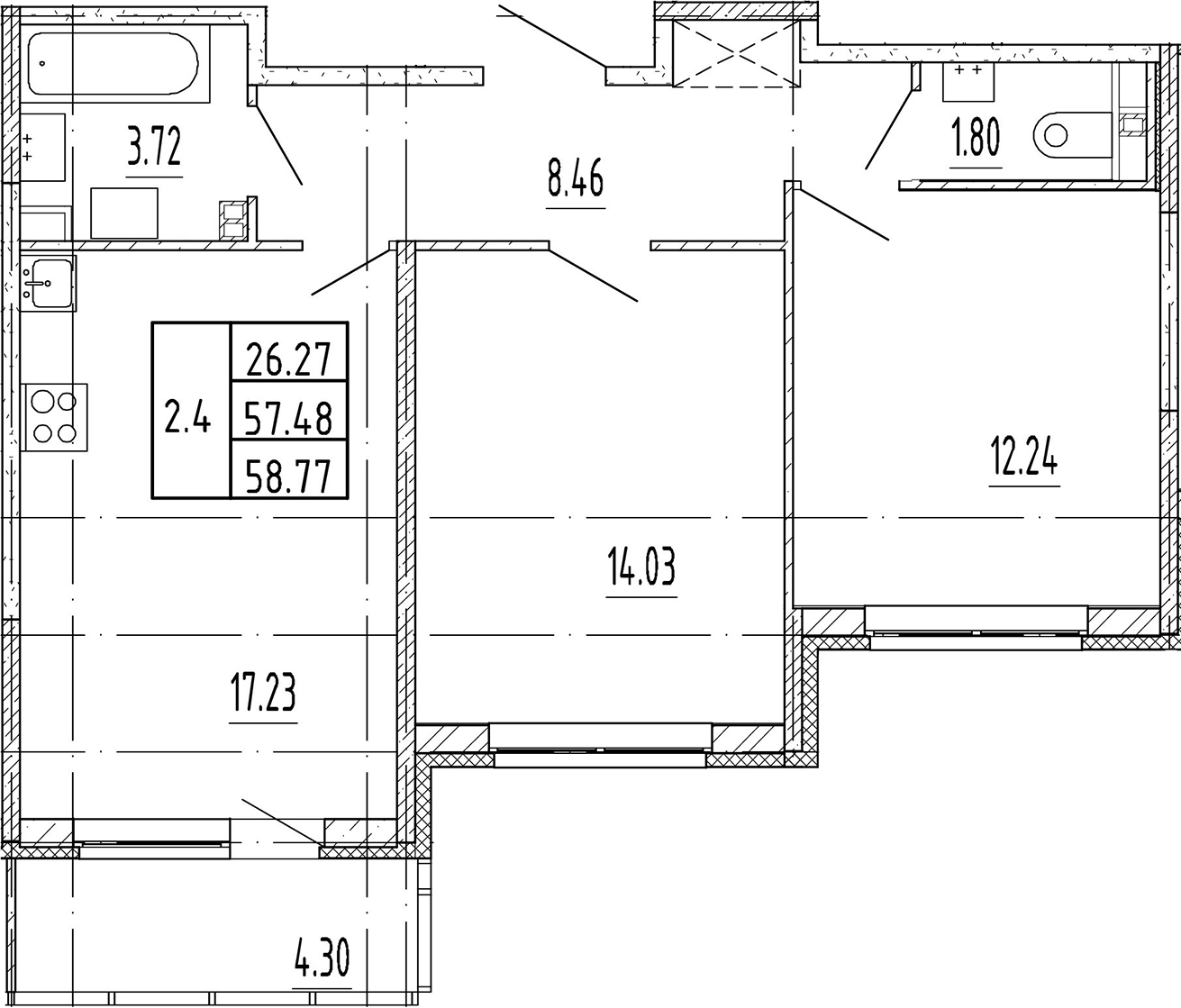 3Е-комнатная, 57.48 м²– 2