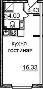 Студия, 24.76 м²