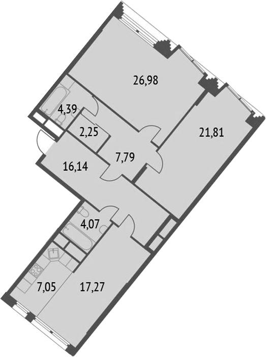 3Е-комнатная, 107.76 м²– 2