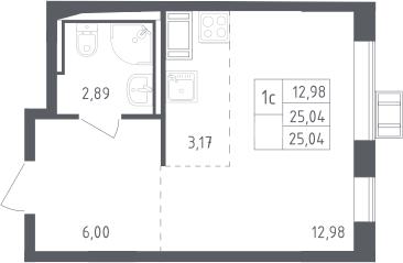 Студия, 25.04 м², 10 этаж
