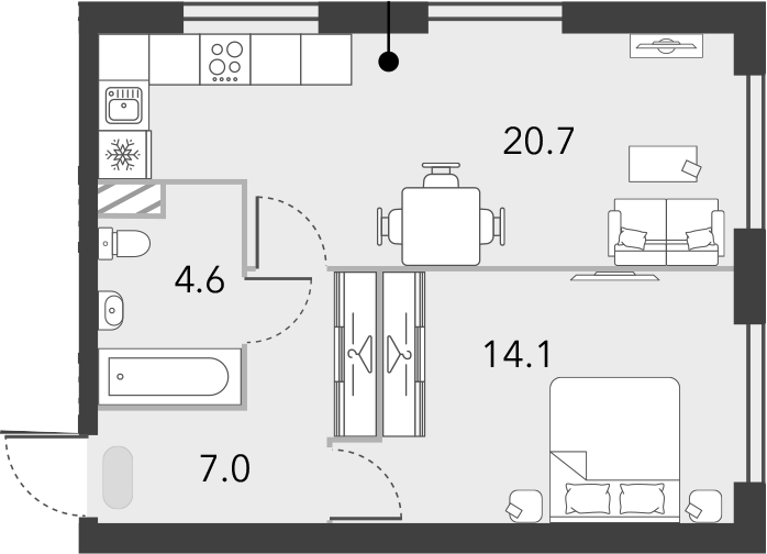 2Е-комнатная квартира, 46.4 м², 9 этаж – Планировка