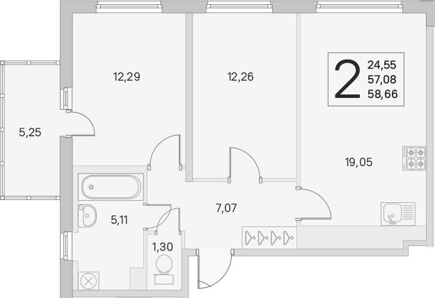 3Е-к.кв, 57.08 м²