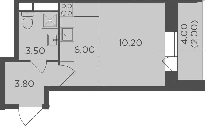 Студия, 25.5 м², 12 этаж