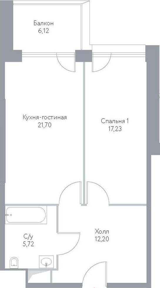 2Е-к.кв, 62.97 м², 9 этаж