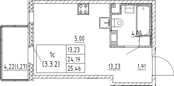 Студия, 25.46 м²
