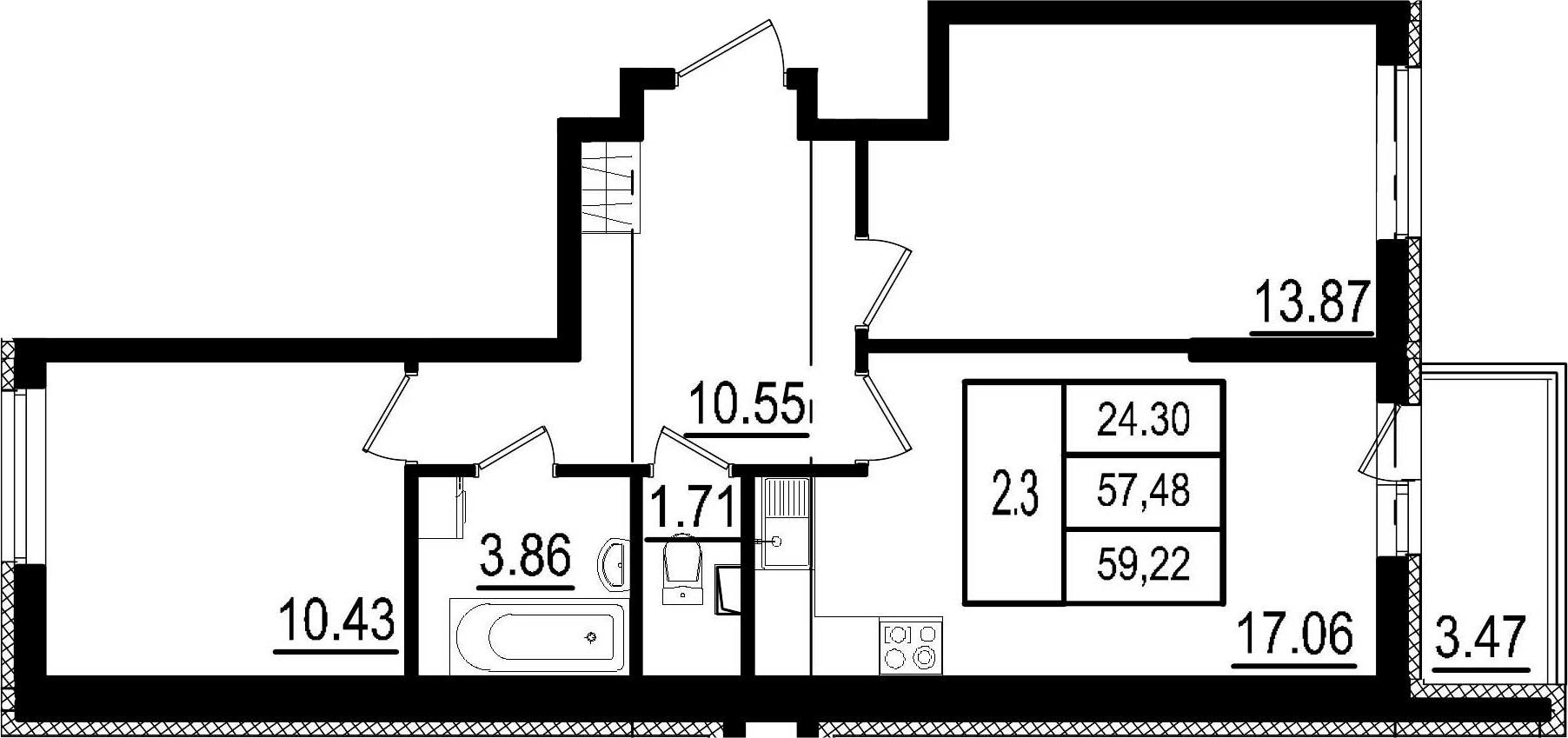 3-к.кв (евро), 60.95 м²