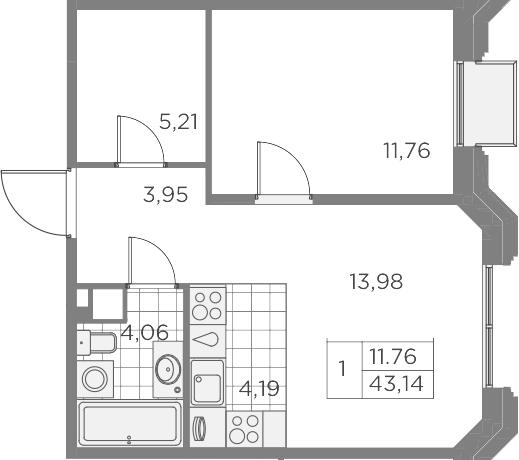 2Е-к.кв, 43.15 м², 4 этаж