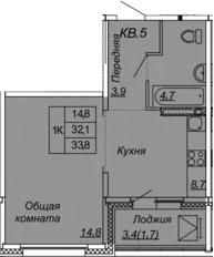 1-к.кв, 33.8 м², от 10 этажа