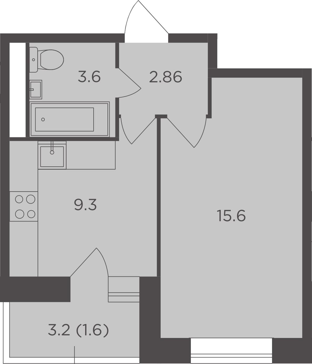 1-комнатная, 32.96 м²– 2